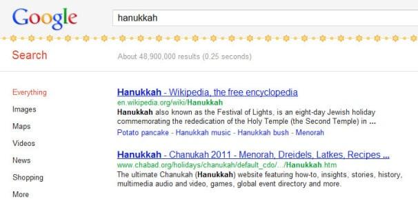 Google Easter Egg Hanukkah