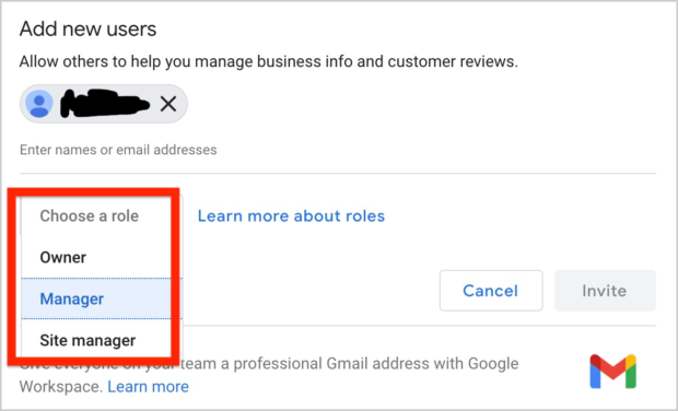 Google My Business Roles
