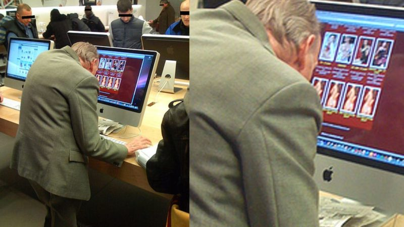 Dirty Old Grandpa in Apple Store