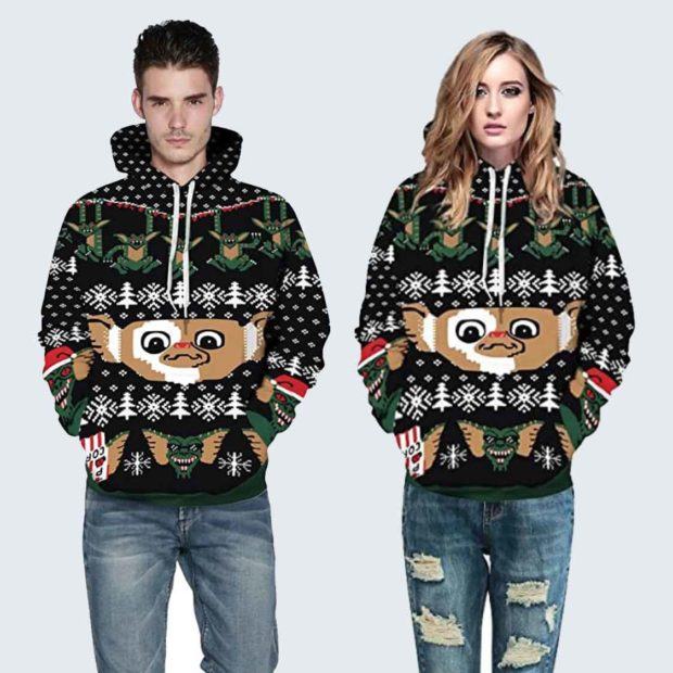 Gizmo Christmas Sweater Gremlins Snowflakes Print Drawstring Hoodie