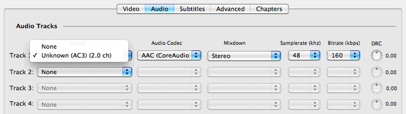 Handbrake Tutorial: Select An Audio Track