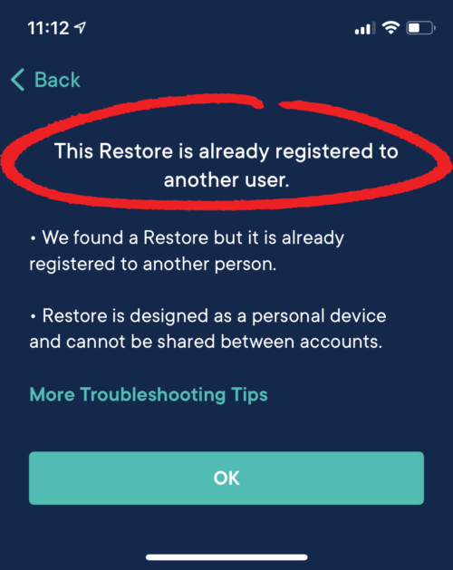 Error: &Quot;This Restore Is Already Registered To Another User&Quot;