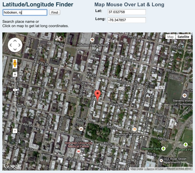 NASA Latitude and Longitude Finder