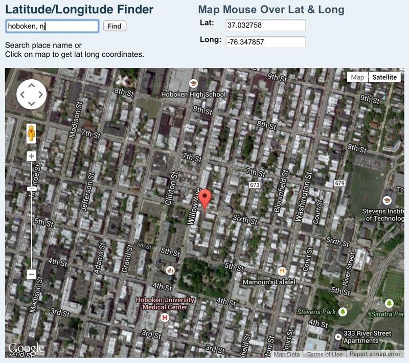 NASA Latitude and Longitude Finder