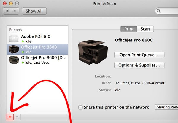 """HP Utility Mac Download Tutorial: Click on the """"+"""" button"""