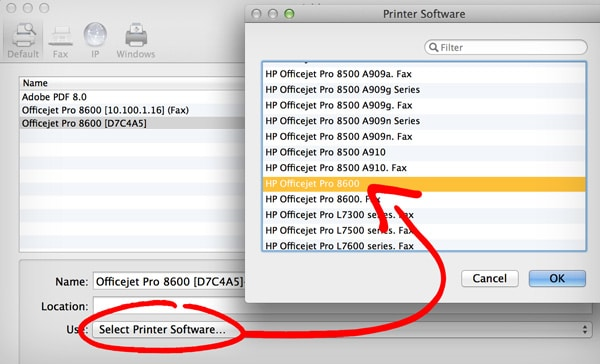 """HP Utility Mac Download Tutorial: Select your HP printer from the """"Use"""" drop down menu"""