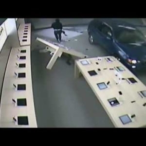 Surveillance Video of Los Angeles Apple Store Smash and Grab Burglary