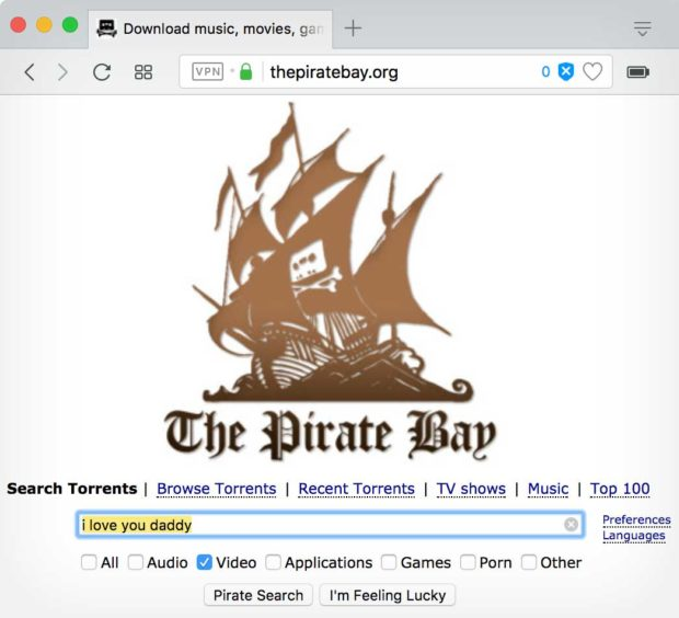 The Pirate Bay: Searching for the 'I Love You Daddy' movie