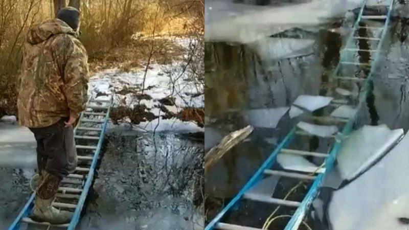 Crossing An Icy Creek On A Ladder Is A Really Bad Idea