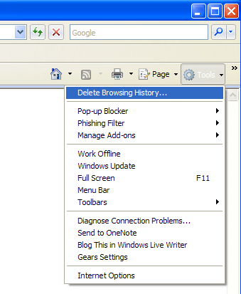 Internet Explorer 7: Delete History