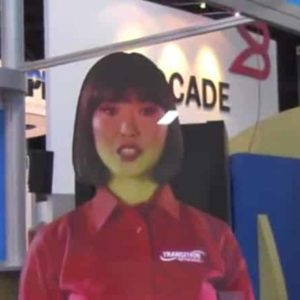 Hologram or Projection - Virtual Booth Girl at Interop