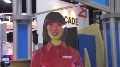 virtual booth girl at interop