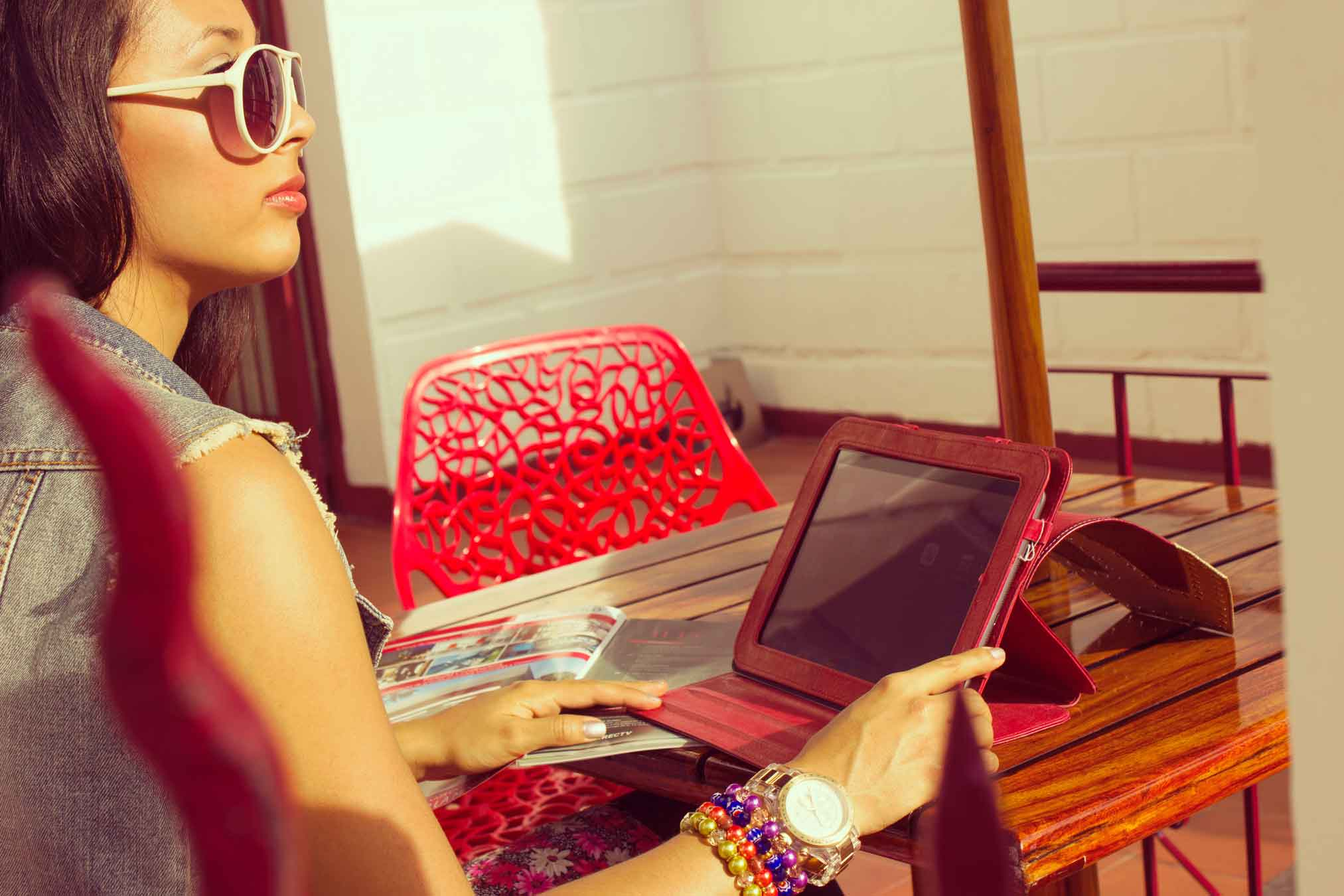Woman Using A Refurbished iPad