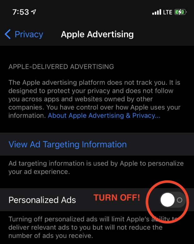 Turn Off Personalized Ads