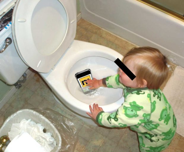 Baby Helps Remove iPhone From Toilet