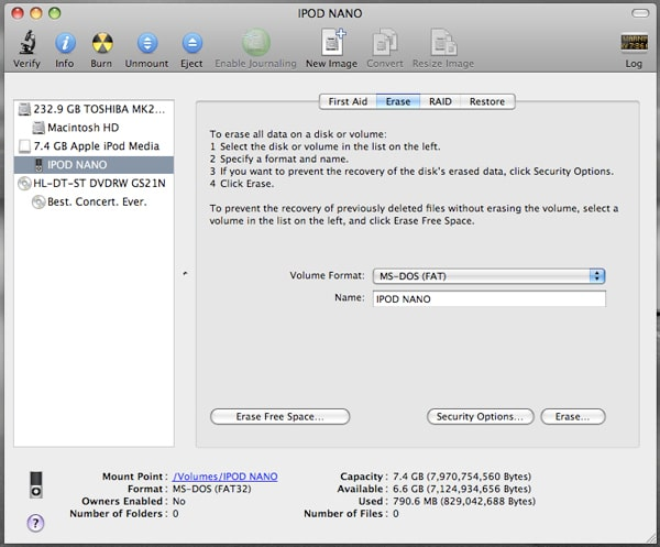 Erase Your iPod using OS X Disk Utility Application