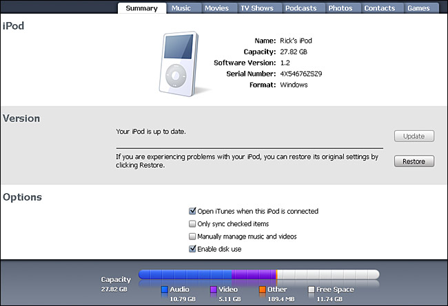 Ipod Summary Screen In Itunes