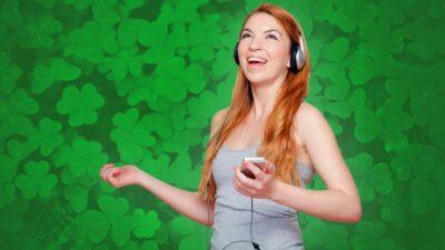 Happy Woman Listening To Irish Music