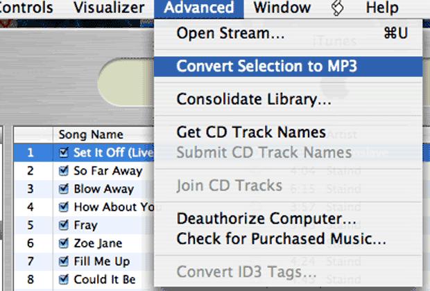 iTunes > Advanced Menu