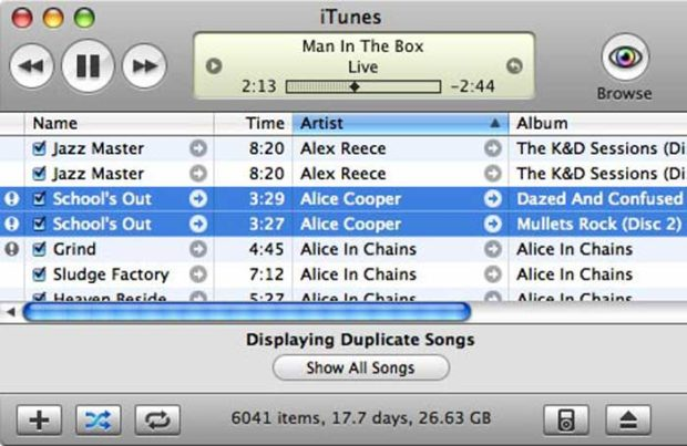 Scan Your iTunes Library For Duplicates - Alice Cooper Songs