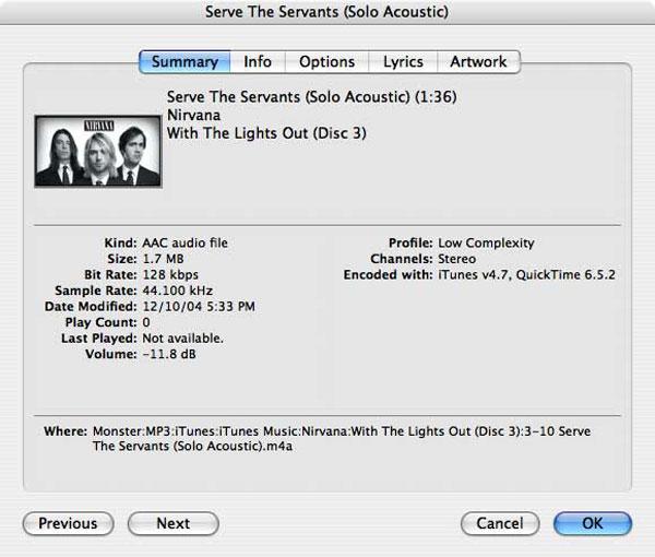 Analyzing Metadata In Itunes - Nirvana Songs