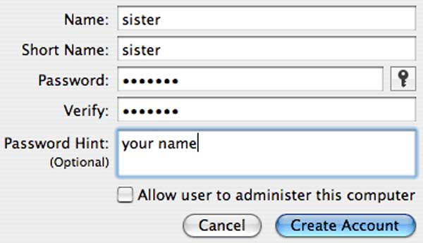 """To make a new macOS account, click on the """"+"""" symbol. This will bring up a window where you can fill out information about the new user including a long and short name, password and password hint."""