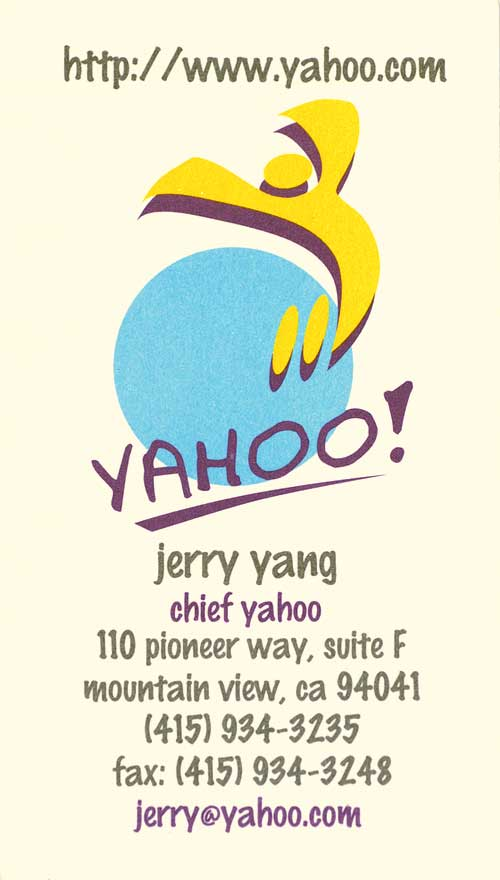 Jerry Yang Business Card - Famous Business Cards From Tech Leaders