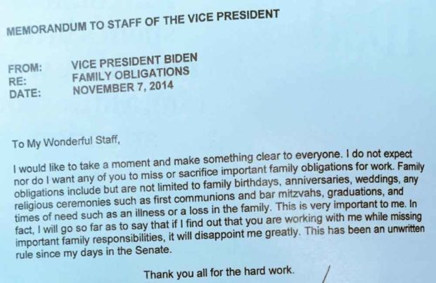 How Joe Biden Communicated The Importance Of Putting Family First To His Staff