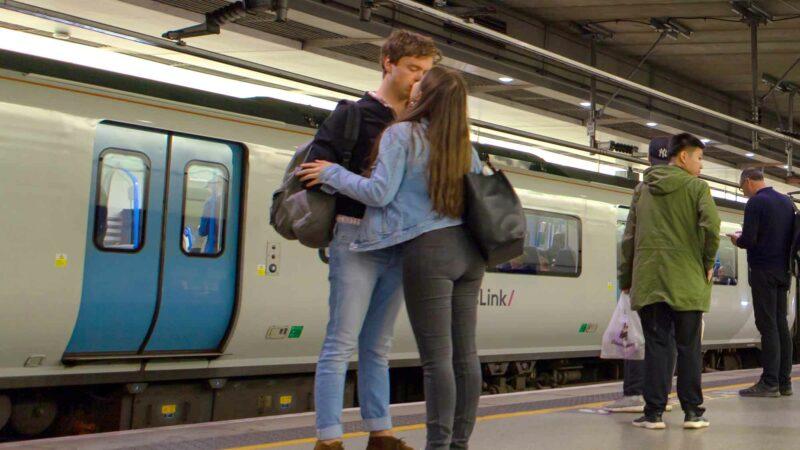 Goodbye Kiss At A Train Station