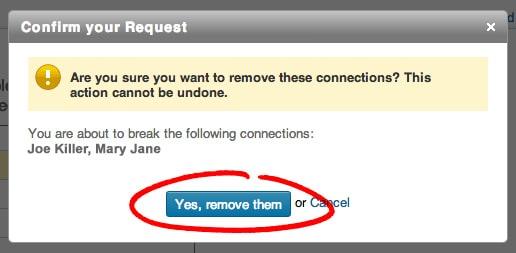 Linkedin Confirm Remove