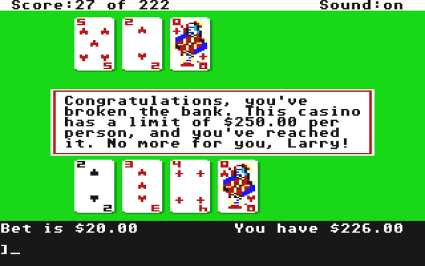 Gambling At The Blackjack Table In Leisure Suit Larry In The Land Of The Lounge Lizards