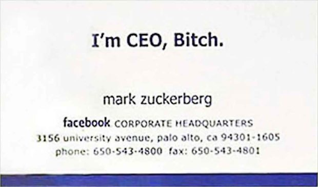 Mark Zuckerberg Business Card - Tech Leaders