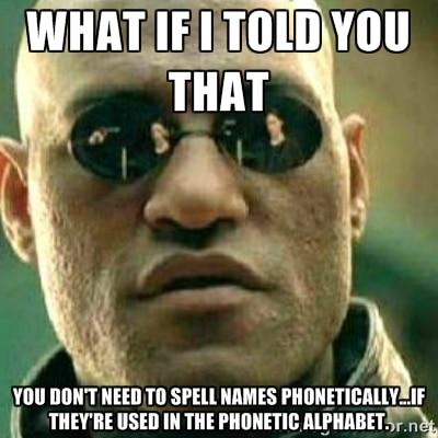 Matrix Meme: Phonetic Alphabet