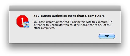 iTunes Will Only Authorize 5 Computers At A Time