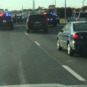 Car Accidentally Gets Trapped In A Texas Highway Police Chase