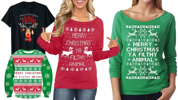 Merry Christmas You Filthy Animal Sweater &Amp; Shirt Designs