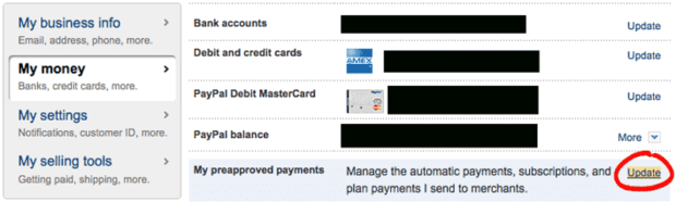 PayPal: My Preapproved Payments > Update