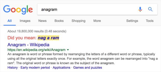 Google Anagram Easter Egg