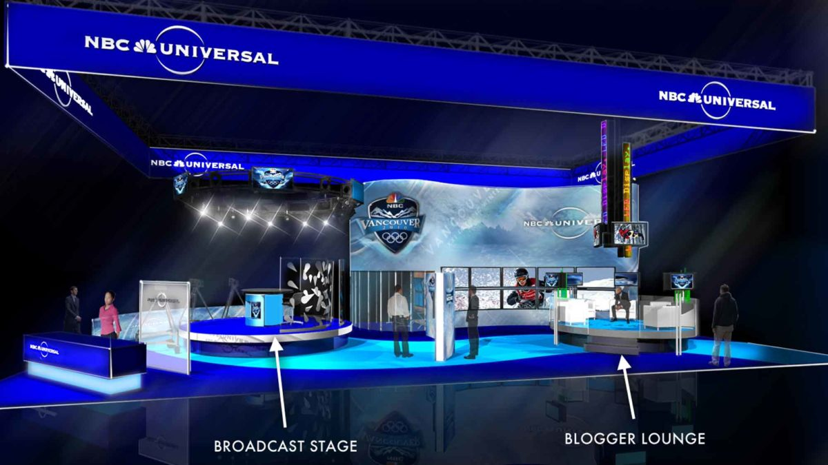 Diagram of the NBCU At CES Booth showing the broadcast stage and a blogger lounge.