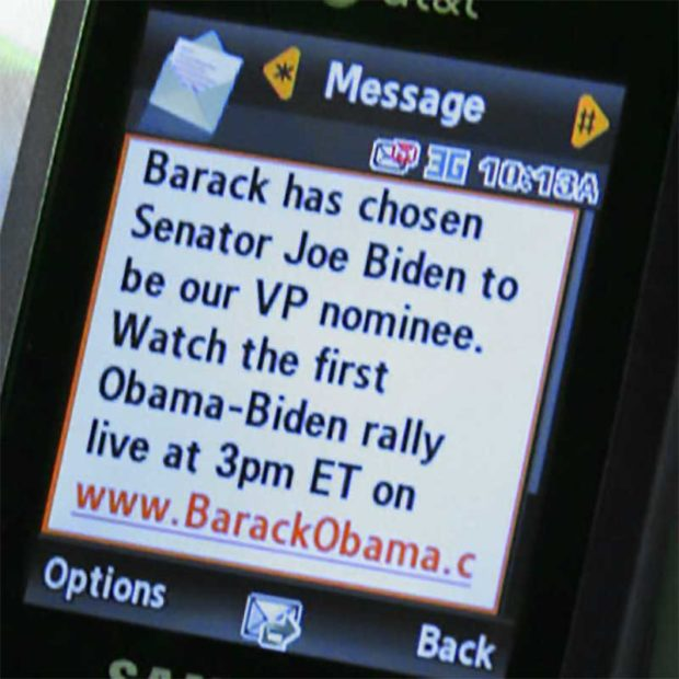 Obama Makes History With Text Message Announcing Joe Biden As His Vp
