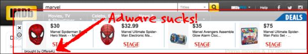 Offers4U Adware Over Imdb.com