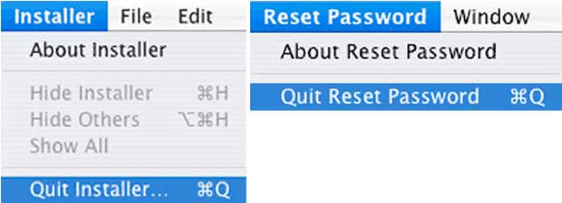 Quit Reset Password And Installer Apps And Then Restart Your Mac