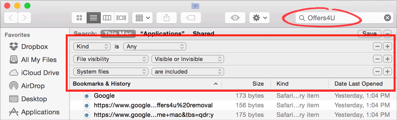 Using the FInder's Search to Find Spyware and Adware