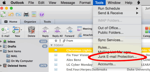 Outlook'S Junk E-Mail Prevention