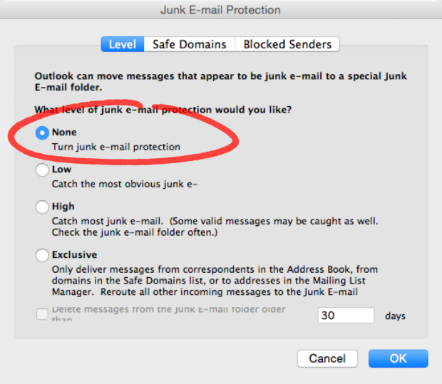 Turn Off Outlook Junk E-Mail Prevention