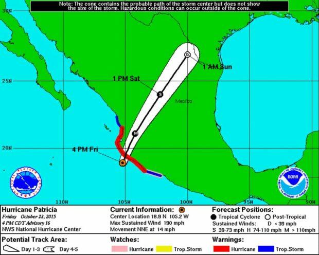 Hurricane Patricia Forecast map