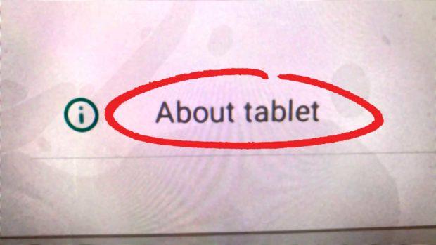Select &Quot;About Tablet&Quot;