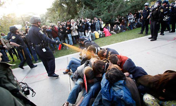 Pepper Spray Meme - Lt. John Pike using pepper spray on peaceful UC Davis students.