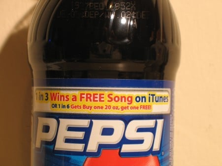 Pepsi iTunes: Bottle Label With Promotion Info