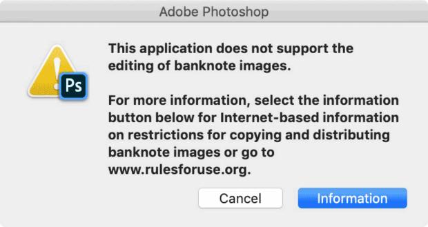 Photoshop Money Warning
